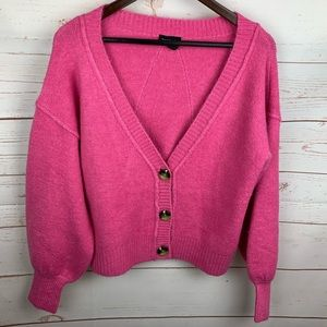 Topshop | Pink Cropped V Neck Oversized Cardigan
